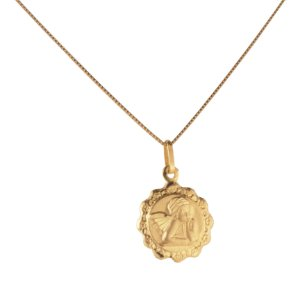 Pingente medalha anjo em ouro amarelo 18k PC 1.35