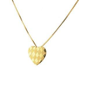 Pingente coração detalhado em ouro amarelo 18k PC 1.67