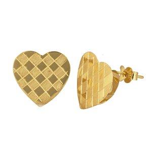 Brinco coração em ouro amarelo 18k PC 3.80