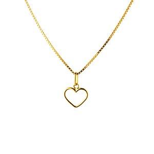 Pingente coração vazado em ouro amarelo 18k PC 1.75