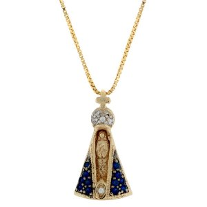 Colar com Pingente de Nossa Senhora Aparecida com detalhe em ródio e Zircônia folheado a ouro 18K Blivejoias