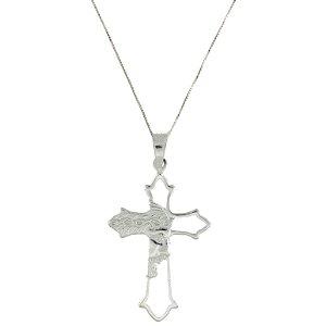 Colar com Pingente Crucifixo com a Face de Cristo de Prata Blivejoias