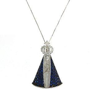 Colar de Prata com Pingente de Nossa Senhora Da Conceição Aparecida com Zircônias Azul no Manto Blivejoias