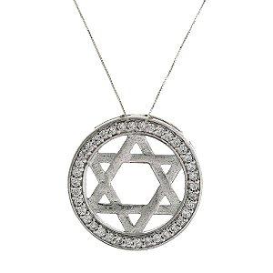 Colar de Prata redondo com Pingente de Estrela de Davi com Detalhes em Zircônias Brancas Blivejoias