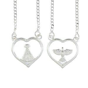 Escapulário de Prata em Formato de Coração com detalhe da Nossa Senhora Aparecida e Espírito Santo Blivejoias