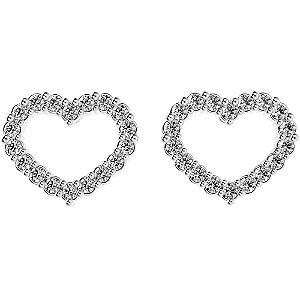 Brinco de Prata Coração Cravejado com Zircônias Brancas  Blivejoais