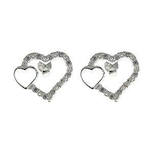 Brinco de Prata Coração Vazado Cravejado Com Zircônias Brancas Blivejoias