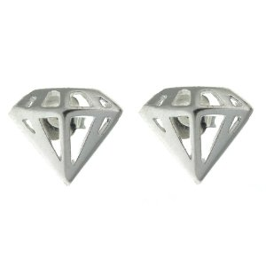 Brinco de Prata Diamante com Detalhe Vazado Blivejoias
