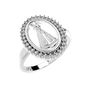 Anel de Prata Oval Nossa Senhora Aparecida Cravejado com Zircônias Brancas Blivejoias