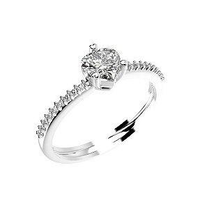 Anel de Prata Solitário com Zircônias Brancas e com Detalhe de Coração na Parte de Trás Blivejoias