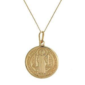 Colar com Medalha de São Bento Folheado a Ouro 18K Blivejoias