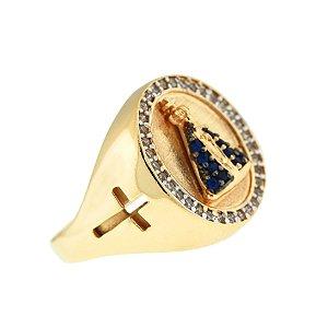 Anel Nossa Senhora Aparecida Cravejado com Zircônias Azul e Brancas Com Banho de Ouro 18K Blivejoias