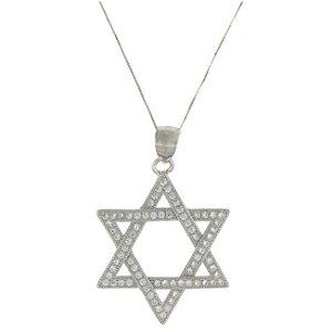 Colar de Prata com Pingente de Estrela de Davi com Zircônias Brancas e com Detalhe Vazado Blivejoias