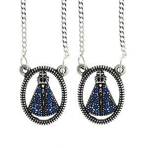 Escapulário De Nossa Senhora Aparecida Cravejado com Zircônias Azul Blivejoias