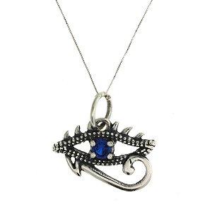 Colar de Prata com Pingente de Olho Grego com Detalhe Vazado com Zircônia Azul Blivejoias