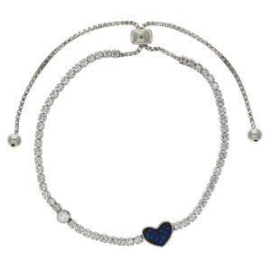Pulseira de Prata Quadriculada com Zircônias Brancas com Coração com Detalhes de Zircônias Azul Blivejoias