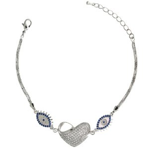 Pulseira de Prata com Coração Vazado e Olho Grego com Zircônias Brancas e Azul Blivejoias