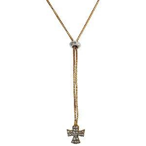 61c1f42d22fe5 Colar Gravatinha com Pingente de Cruz Com Zircônias Brancas Folheado a Ouro  18K Blivejoias