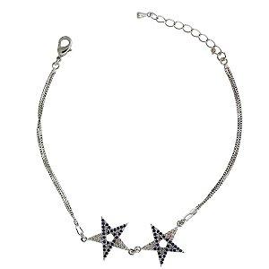 Pulseira de Prata com Estrela Vazado Cravejado com Zircônias Brancas e Azul Blivejoias