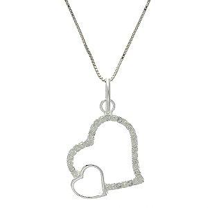 Colar de Prata com Pingente com 2 Coração Vazado com Zircônias Brancas Blivejoias