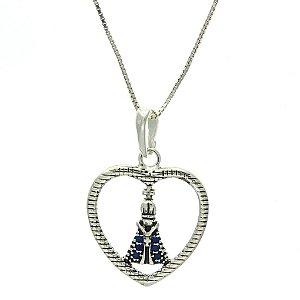 Colar de Prata com Pingente de Nossa Senhora Aparecida com Detalhe de Coração Vazado com Zircônias Azul Blivejoias
