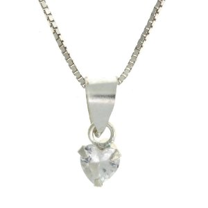 Colar de Prata com Pingente Pequeno de Coração Cravejado com Zircônias Brancas Blivejoias