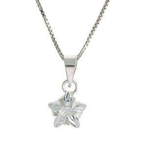 Colar de Prata com Pingente Pequeno de Estrela Cravejado com Zircônias Brancas Blivejoias