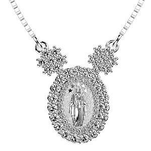 Colar de Prata com Pingente de Nossa Senhora com Pedras de Zircônias Brancas Blivejoias