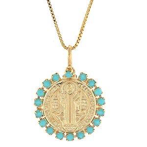 Colar de Prata com Medalha de São Bento com Zircônias Azul Folheado a Ouro 18K Blivejoias