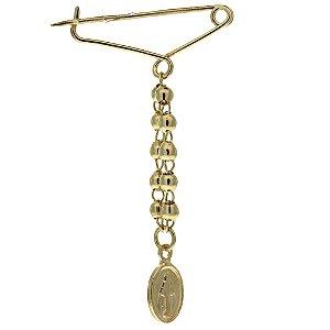 Broche Folheado a Ouro 18K com Medalha Pequena de Nossa Senhora do Carmo  Blivejoias