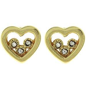 Brinco de Coração com Detalhe Vazado e com 3 Zircônias Brancas Cravejadas Folheado a Ouro 18K Blivejoias