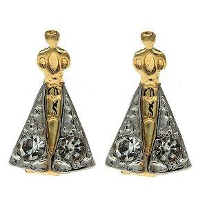 Brinco de Nossa Senhora da Conceição Aparecida com Manto de Ródio com Detalhe de 2 Zircônias Folheado a Ouro 18K Blivejoias