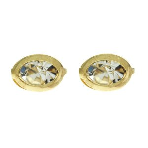 Brinco Ponto de Luz com Detalhe Oval Folheado a Ouro 18K Blivejoias