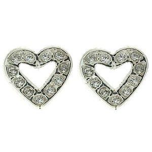 Brinco de Prata Coração Vazado com Zircônia Branca Blivejoias