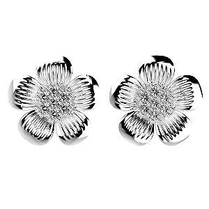 Brinco de Prata Flor Cravejado com Zircônias Brancas Blivejoias