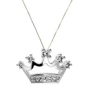 Colar de Prata com Pingente de Coroa Cravejado com Zircônia Branca Blivejoias