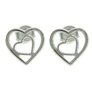 Brinco de Coração de Prata com Detalhe Vazado e com Zircônias Brancas Blivejoias