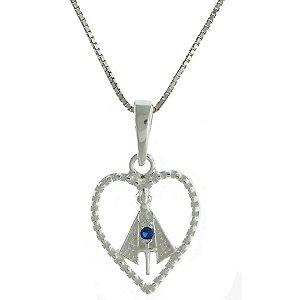 Colar de Prata com Pingente de Nossa Senhora da Aparecida com Detalhe de Coração e com Zircônias Azul Blivejoias
