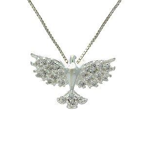 Colar de Prata com Pingente de Espírito Santo Cravejado de Zircônias Brancas Blivejoias