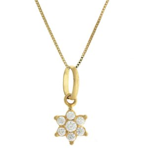 Colar com Pingente de Estrela Cravejado de  Zircônias Brancas de Ouro Blivejoias