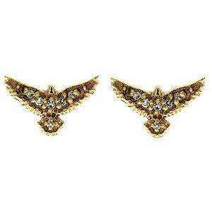 641c73674f3c5 Brinco de Ouro Espírito Santo Cravejado de Zircônias Brancas Blivejoias
