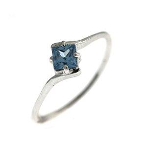 Anel de Prata com Pedra Natural Azul com Detalhe Quadrado Blivejoias