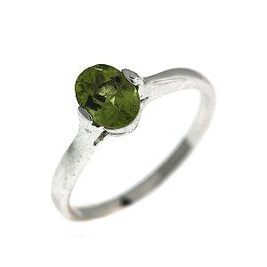 Anel de Prata com Pedra Natural Verde Blivejoias