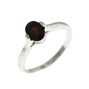 Anel de Prata com Pedra Natural Vermelha Blivejoias