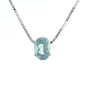 Colar de Prata com Pingente de Pedra Natural Azul Blivejoias