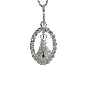 Colar de Prata com Pingente de Sagrado Coração de Maria com Detalhe de Zircônias Brancas Blivejoias