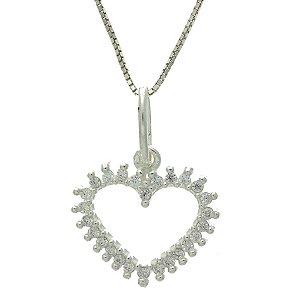 Colar de Prata com Pingente de Coração com Detalhe Vazado e Cravejado de Zircônias Brancas Blivejoias