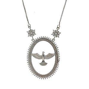 Medalha de Prata Espírito Santo com Detalhe Vazado e Cravejado de Zircônias Brancas Blivejoias