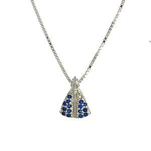 Colar de Prata com Pingente de Nossa Senhora Cravejado de Zircônias Azul Blivejoias