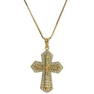 Colar com Pingente de Cruz Cravejado de Zircônias Brancas Folheado a Ouro 18K Blivejoias